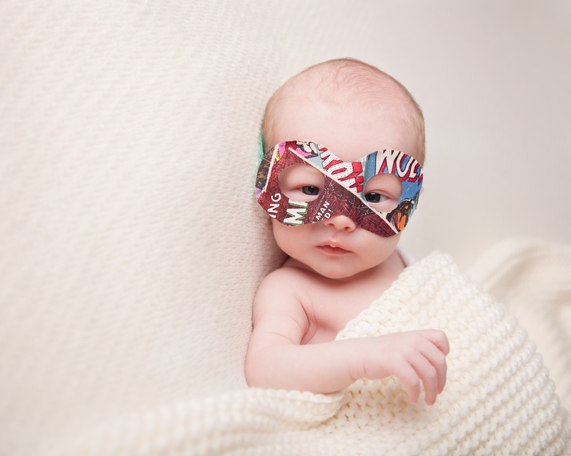 super hero baby, marvel mask, wirral baby photography