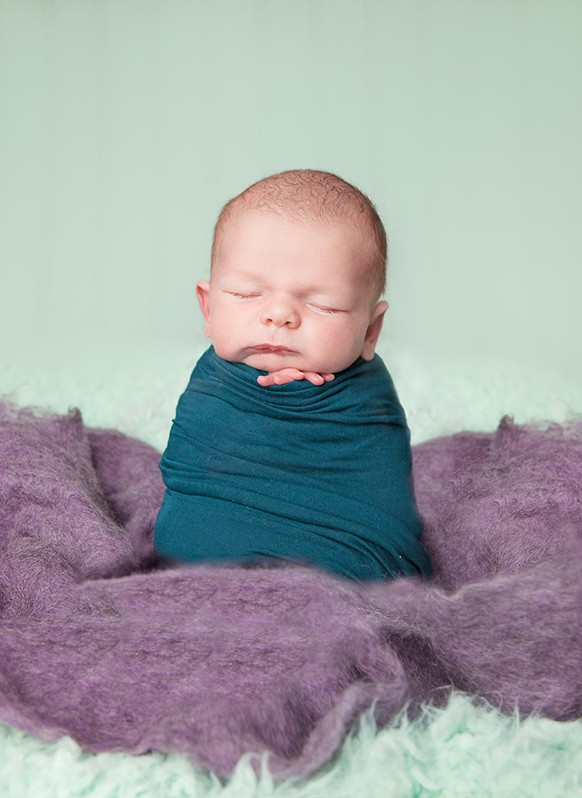 Swaddled baby boy, professional newborn baby photographer, Hawarden baby photography