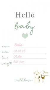 freebie baby announcement card cass davies photography