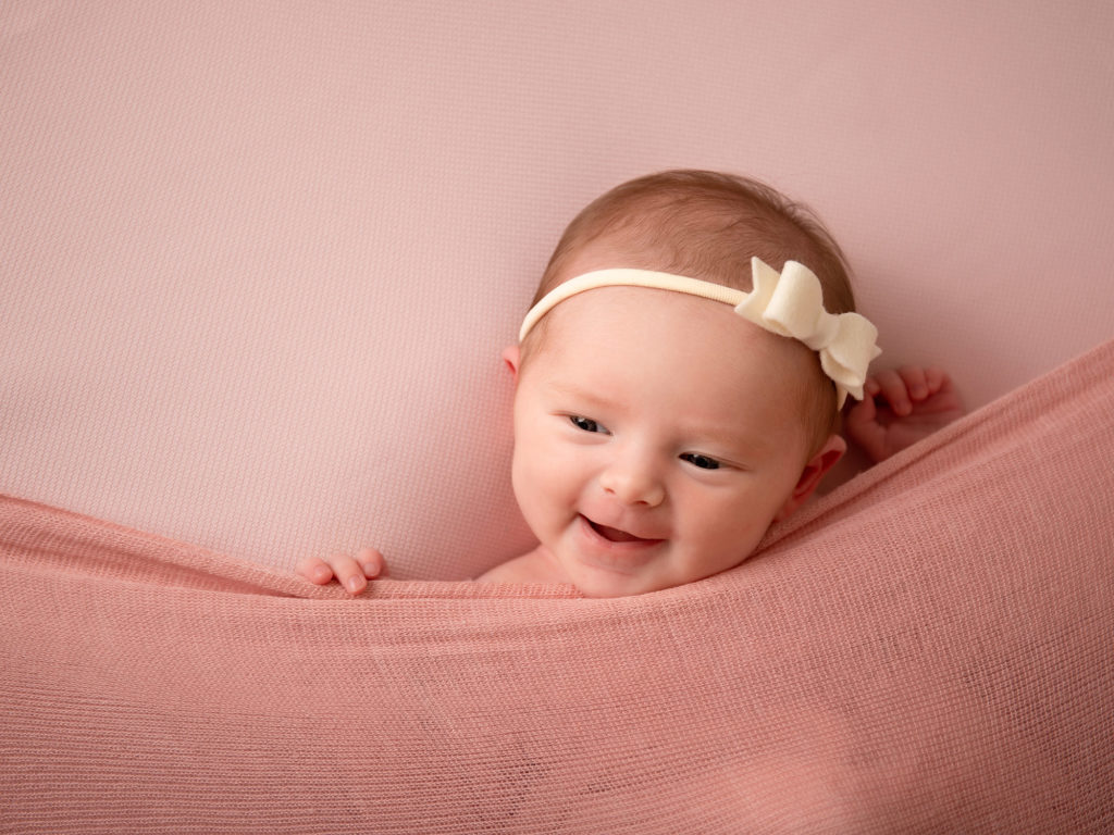baby photography studio, smiling baby girl